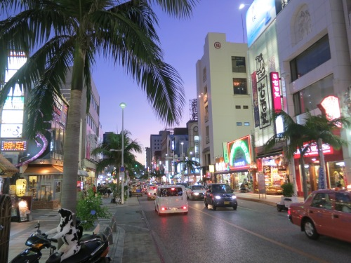 The city's main street and commercial hub, Kokusai-dori, is awash in neon lights and kitschy flair come sunset