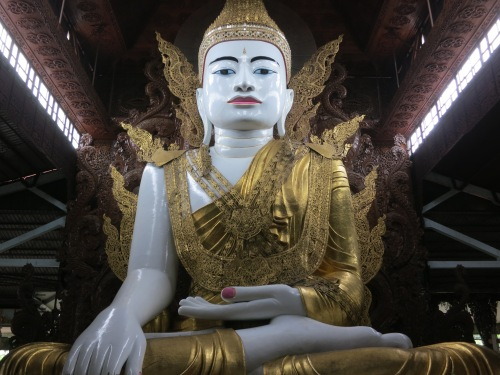 A closer look at the pure white Buddha