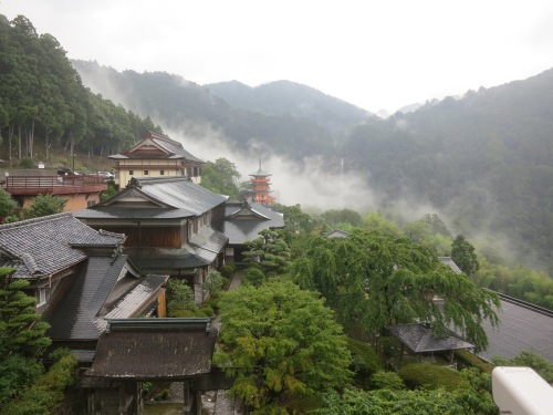 The view over Nachi-san, with a three-storied Pagoda and the waterfall just visible in the distance