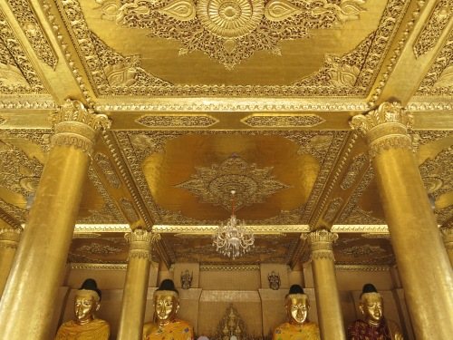 The golden ceiling inside one of the smaller temples within the entire complex