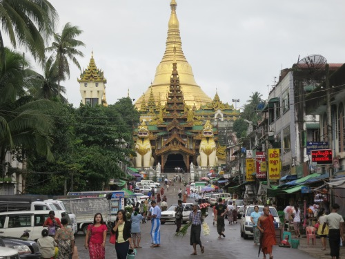 The crowded approach to the Shwe Dagon Paya