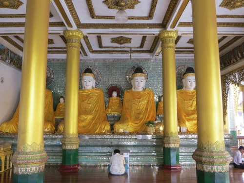Shwe Dagon Paya 8 - Orange Buddhas