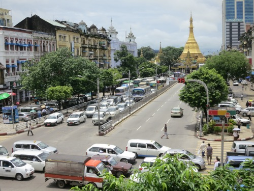 The Sule Pagoda, centered in a traffic roundabout, marks the heart of the city