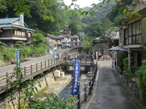 The single street that is the mountainous town ofYunomine Onsen