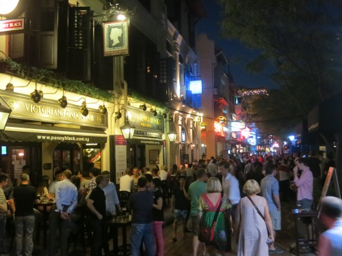 The lively nightlife scene along the Quays
