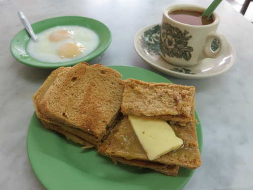 The common morning threat that is Kaya Toast and Coffee (a coconut-and-butter jam served with toast and very runny eggs)