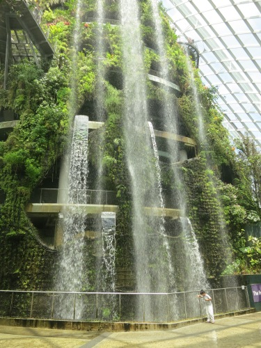 The multi-story waterfall with the Cloud Forest, the twin sister to the Flower Dome